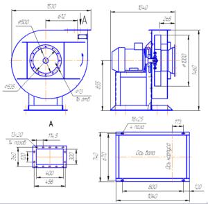 Габаритный чертёж вентиляторов радиальных ВР 120-28-10