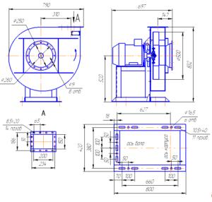 Габаритный чертёж вентиляторов радиальных ВР 120-28-5