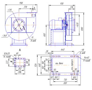 Габаритный чертёж вентиляторов радиальных ВР 120-28-6,3
