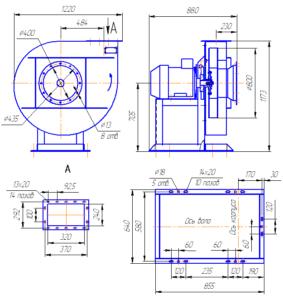 Габаритный чертёж вентиляторов радиальных ВР 120-28-8