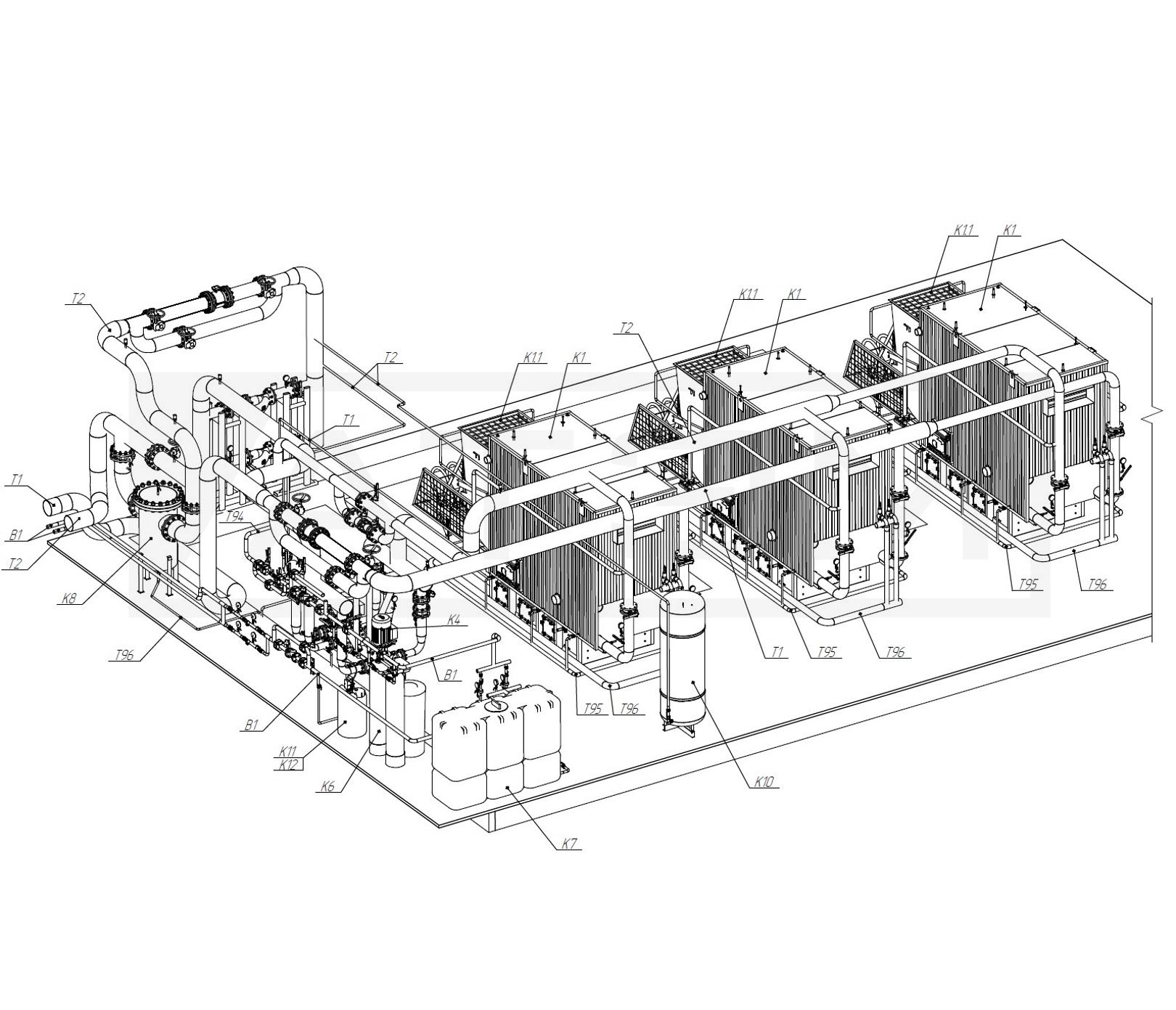 Трубопроводы БК-7,5 (3хКВм-2,5)