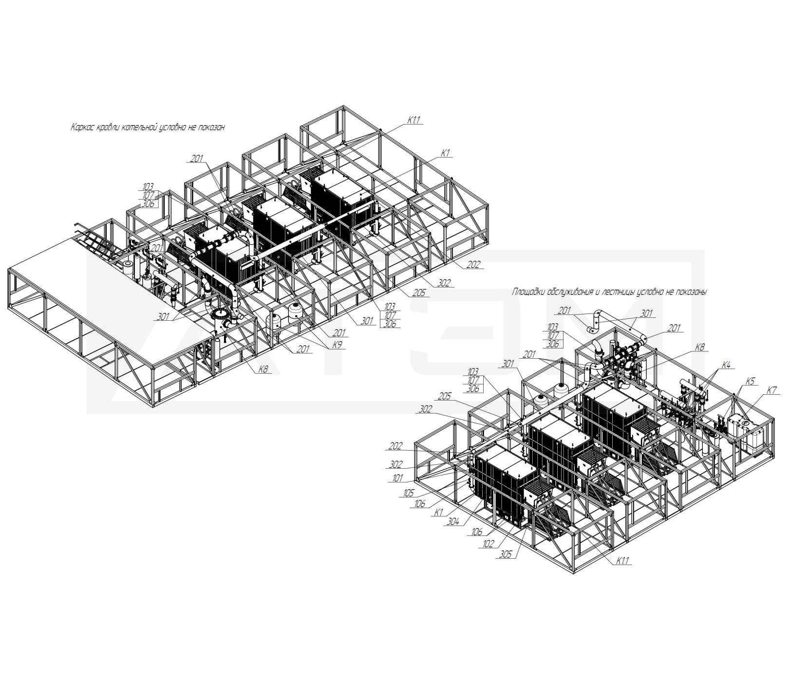 Трубопроводы Т1. БМК-7,5 (3хКВм-2,5)