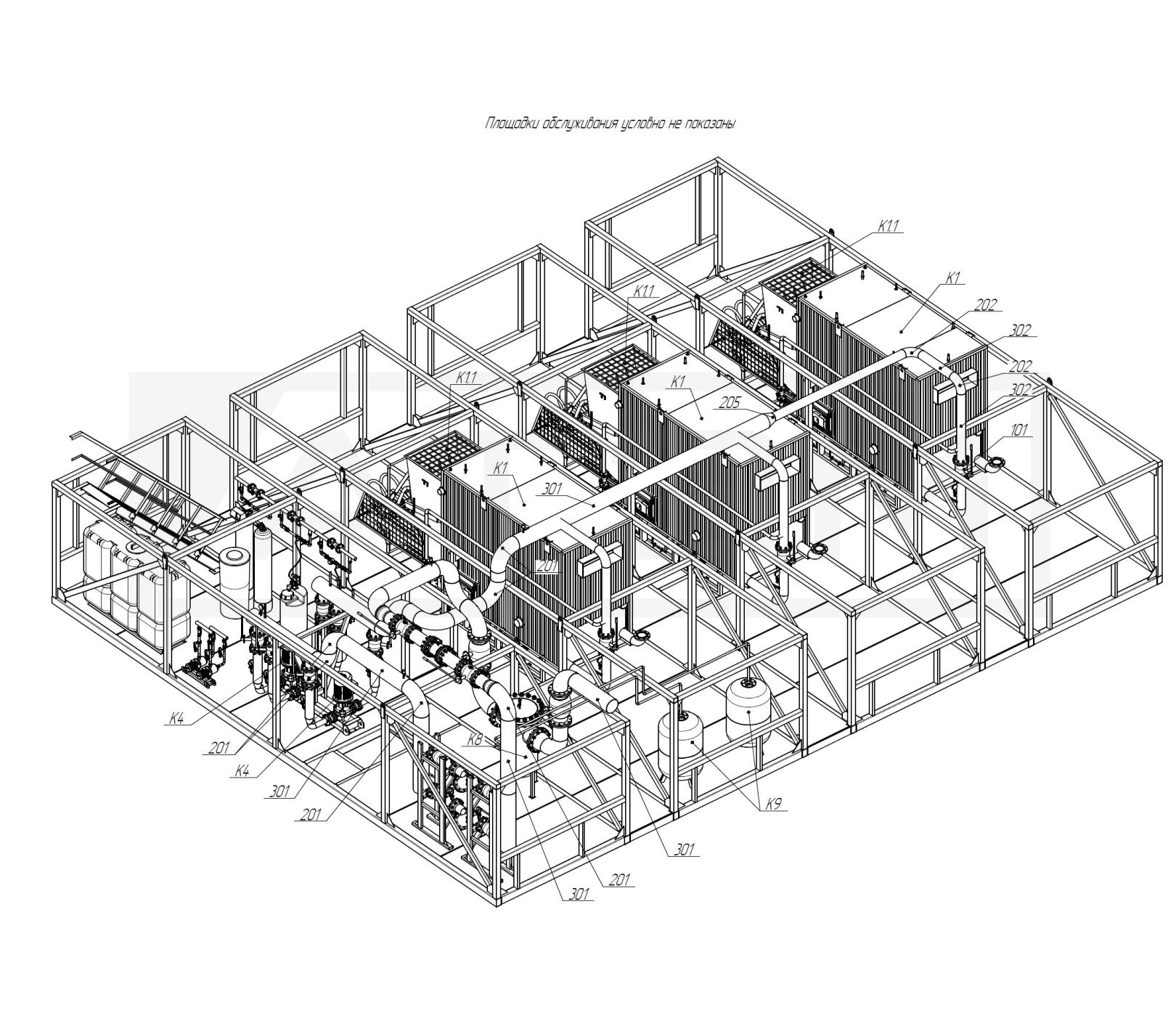 Трубопроводы Т2. БМК-7,5 (3хКВм-2,5)
