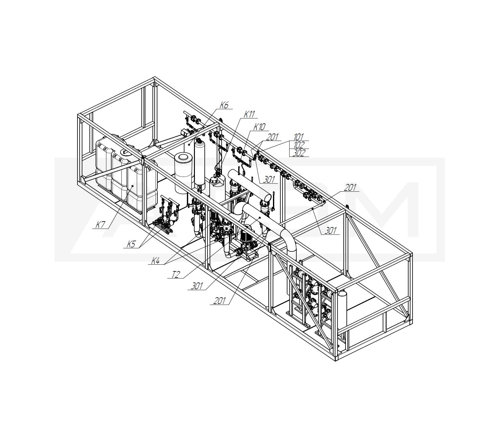 Трубопроводы Т94. БМК-7,5 (3хКВм-2,5)
