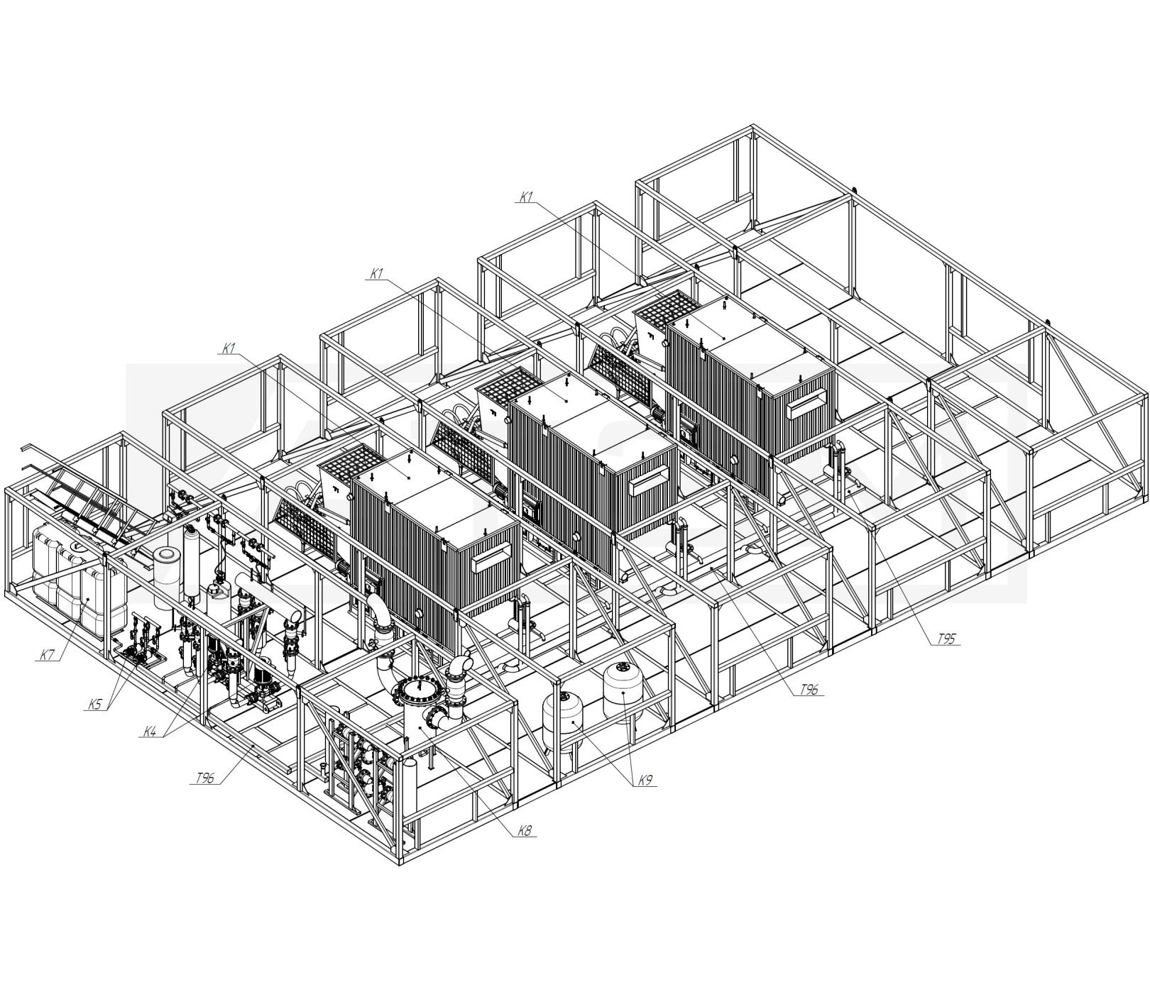 Трубопроводы Т95,Т96. БМК-7,5 (3хКВм-2,5)