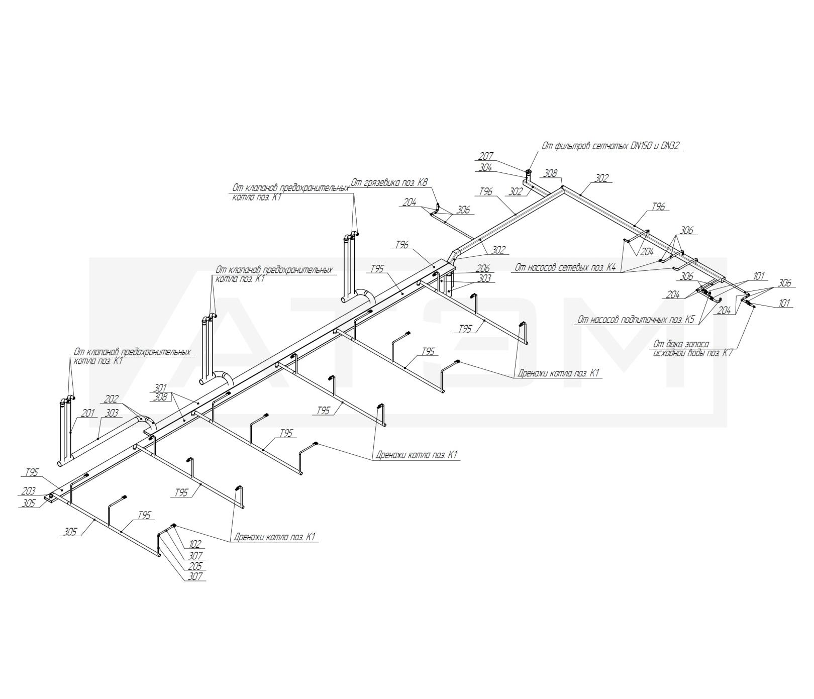 Трубопроводы Т95,Т96. Схема. БМК-7,5 (3хКВм-2,5)